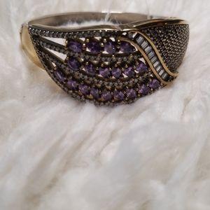 Sold .925 Handmade Art Amethyst topaz bracelet